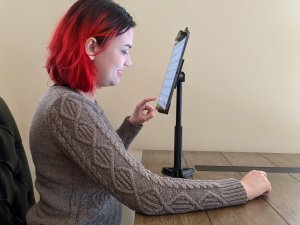 LV Tablet Stand in use for near face reading and typing